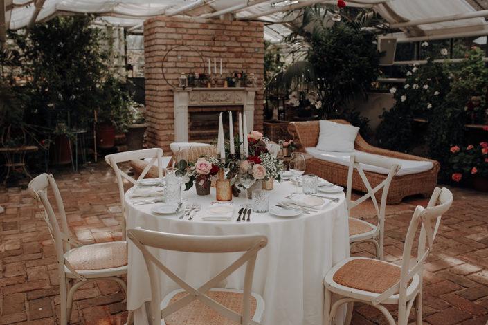 Die alte Gärtnerei, Hochzeit, Tischdekoration
