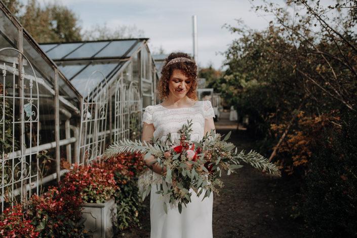 Hochzeit, First Look, Paarshooting, Boho, Brautstrauss, Braut