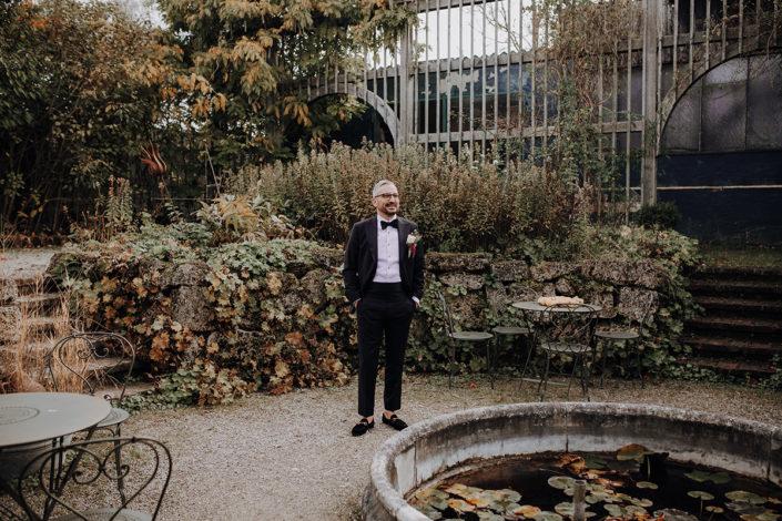 First Look, Die alte Gärtnerei, Hochzeit, Bräutigam