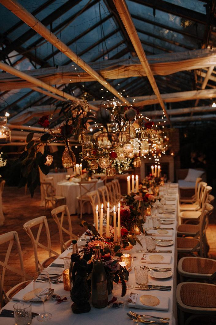 die alte Gärtnerei, Hochzeit, Lichter, Tischdekoration
